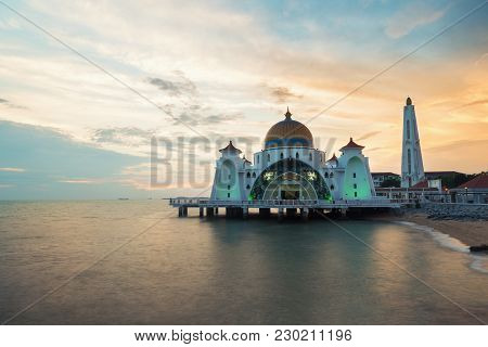 Malacca Straits Mosque (selat Melaka Mosque) Is A Mosque Located On Malacca Island Near In Malacca S
