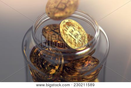 Golden Bitcoins In A Jar. Storing Cryptocurrencies Concept. Realistic 3d Rendering