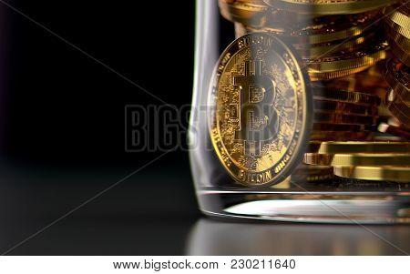 Storing Bitcoins In Jar As A Frozen Assets Concept. 3d Rendering
