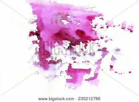 Pink Abstract Watercolor Stains With Spatters And Splashes. Creative Colorful Watercolor Background
