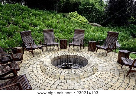 Fire Pit Rustic Backyard Chair Stone  Outdoor