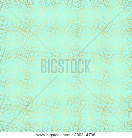 Grid Pattern Of Curved Lines, Chaos, Seamless Vector Background.