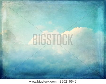 Vintage Blue Sky Background. Clouds And Sunlight.