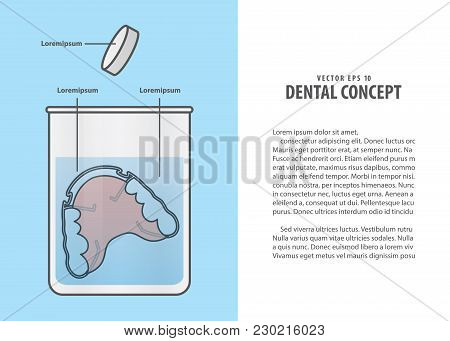 Layout Cleaning The Retainer In The Glass With Tablet Illustration Vector On Blue Background. Dental