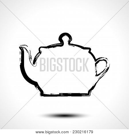 Teapot , Kettle, Tea Kettle Icon, Stylized Vector Sketch On White Background