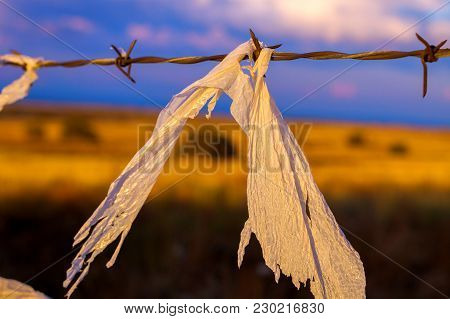 A Ragged Piece Of Torn Plastic Bag Caught On A Piece Of Barbed Wire And Blowing In The Wind During G