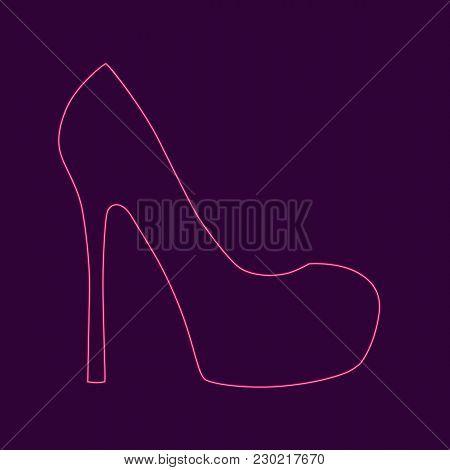 Womens High Heel Shoe. Neon. Isolated Vector Illustration.