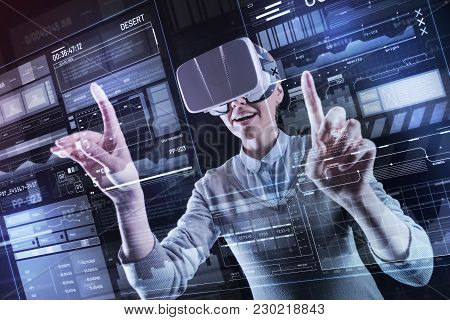 Sudden Idea. Excited Emotional Professional Programmer Feeling Happy While Wearing Virtual Reality G