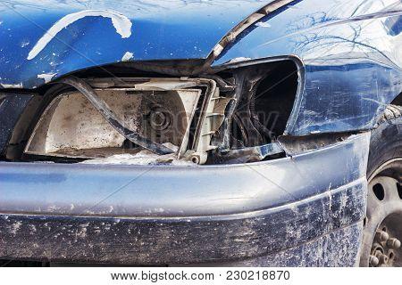 Broken Headlight On The Car, Close Up