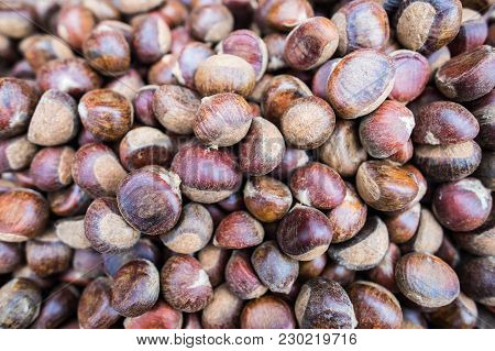 Group Of Chestnuts In Asian Fresh Market