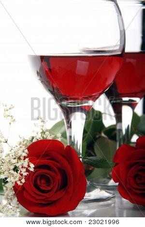 Beautiful, Romantic Valentines Roses And Wine