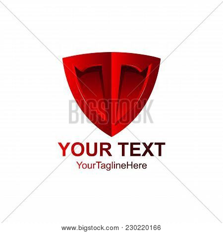 Red Shield Shape Icon. 3D Emblem Sign Isolated On White Background. Symbol Of Security, Power, Prote
