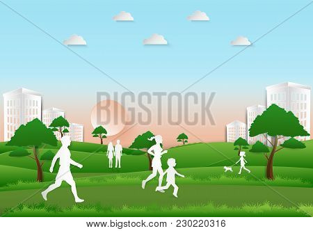 People Recreation And Exercise In The Park On Sunset Background, Paper Art, Paper Cut Illustration