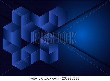 3d Cube Geometric Blue Navy Background  For Card, Annual Business Report, Poster Template