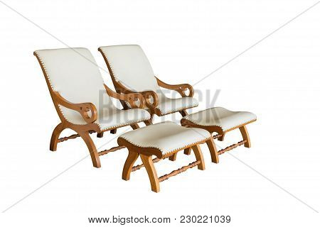 Two White Leather Armchairs With Footrest, Isolated On White Background.