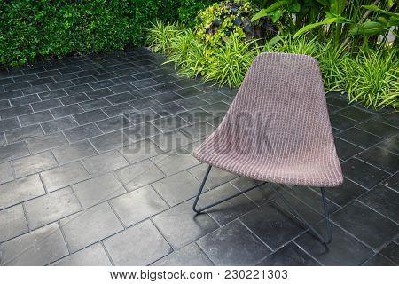 Interior Design , Rattan Chair In The Beautiful Garden