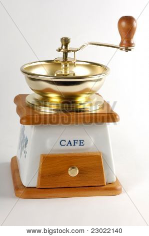 Stock photo of a Coffee grinder close-up Isolated on white background