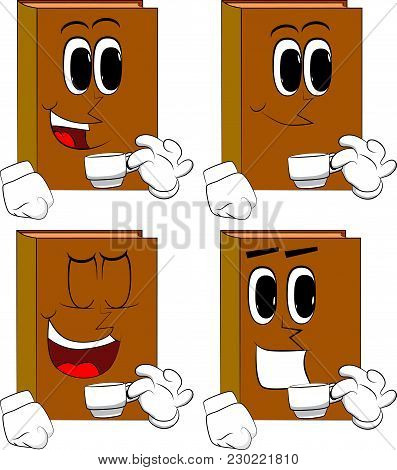 Books Drinking Coffee. Cartoon Book Collection With Happy Faces. Expressions Vector Set.