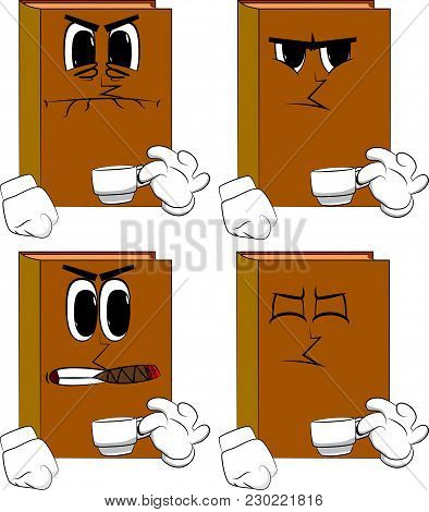 Books Drinking Coffee. Cartoon Book Collection With Angry Faces. Expressions Vector Set.