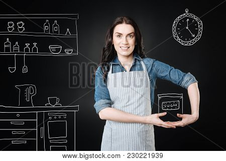 Positive Housewife. Positive Young Housewife Looking Glad While Wearing An Apron And Imagining Herse