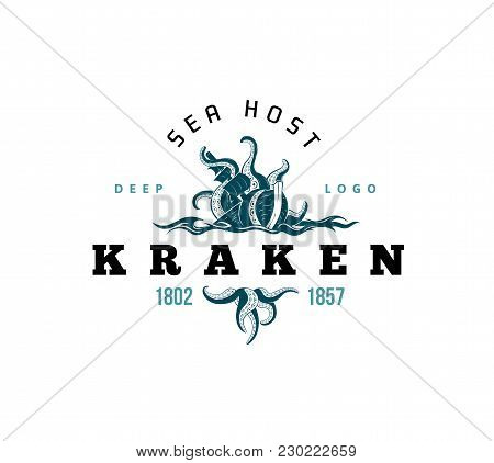 Giant Evil Kraken Absorbs Commercial Sailing Ship, Silhouette Octopus Sea Monster With Tentacles For