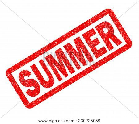 Summer Red Rubber Stamp On White Background. Summer Sign.  Text Summer Stamp.