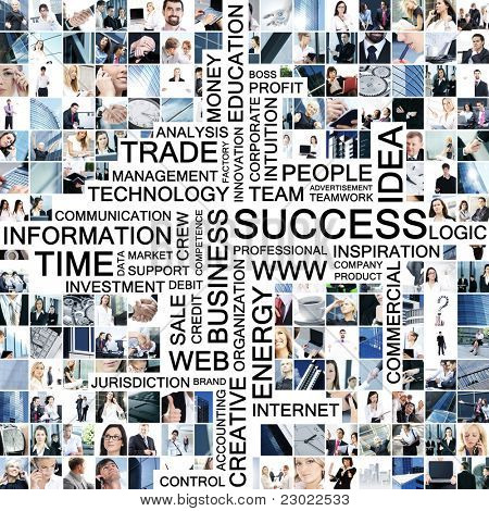 Business collage made of many different pictures with text