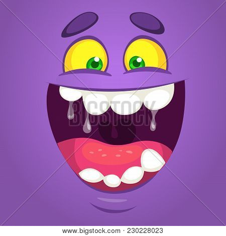 Cool Happy Cartoon Monster Face. Vector Halloween Purple Monster Laughing With Wide Mouth Smiling Fu