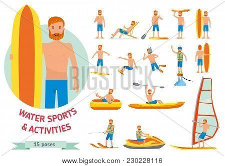 Summer Water Beach Sports, Activities Set. Man Windsurfing, Surfing, Jet Water Skiing, Paddleboardin