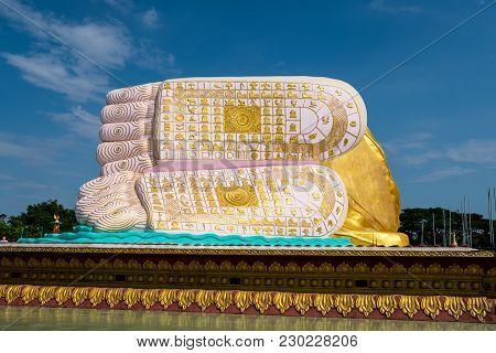 Feet Of Reclining Buddha Name Naung Daw Gyi Mya Tha Lyaung In Bago, Myanmar.