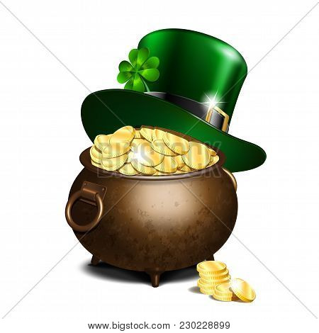 St. Patricks Day Symbols. Green Leprechaun Hat With Clover Leaf On Old Iron Pot Full Of Gold. Vector