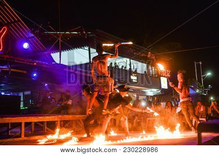Phi Phi Island , Thailand 21 May 2017 : Fire Show On Phi Phi Island In Thailand At The Bar Sunky Bay