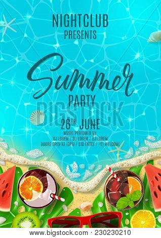 Summer Party Poster Invitation. Top View On Summer Decoration With Fresh Cocktails And Tropical Frui