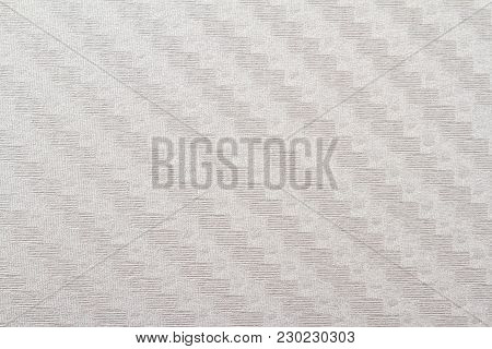 Horizontal Front View Of Flat White Paper Texture With Embossed Ornament
