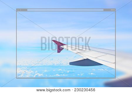 Web Site Page Design Concept, Airplane Wing On Blue Sky Background.