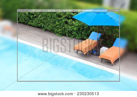 Web Site Page Design Concept, Relaxing Chairs Beside Of Swimming Pool Background.