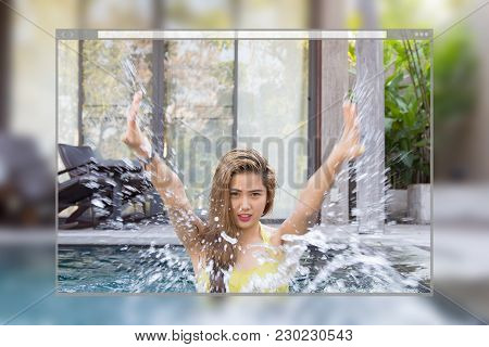 Web Site Page Design Concept, Pretty Swimsuit Fashion Young Sexy Asian Woman Posing In Pool Backgrou