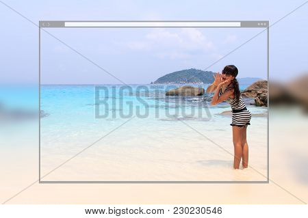 Web Site Page Design Concept, Asian Young Pretty Woman Shouting To The Ocean At Tropical Beach Backg