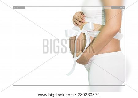Web Site Page Design Concept, Pregnant Woman Hands Holding Belly With White Ribbon Gift On Belly, Wh