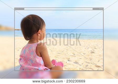 Web Site Page Design Concept, Asian Cute Baby Girl Siting On Beach Bed At Seaside Background.