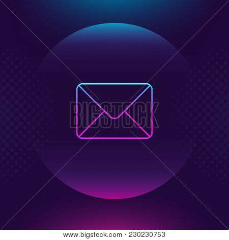 Mail Neon Outline Icon. Message Email Luminous Thin Button. Contact Outline Logo Ultra Violet Color.