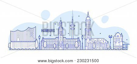 Hamburg Skyline, Germany. This Illustration Represents The City With Its Most Notable Buildings. Vec