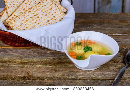 Traditional Jewish Passover Dish Matzah Ball Soup Served With Matzah, Jewish Symbols For The Passove