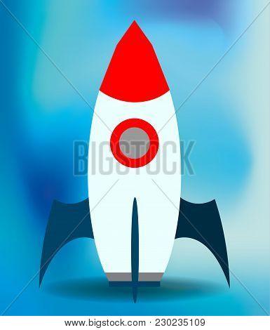 Flat Vector Spaceship On Blue Blured Background