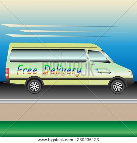 The Delivery Van Speeding On The Freeway. Vector Illustration