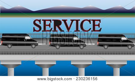 Minibuses Of Service Rushing Over The Bridge. Vector Illustration