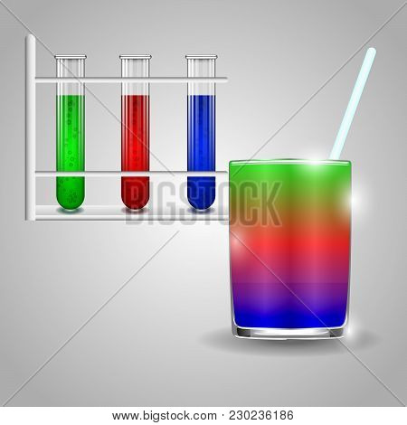 Test Tubes With Red, Blue And Green Liquids. As Well As A Glass Of Liquid And A Glass Rod On A Gray
