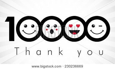 Thank You 10000 Followers Numbers. Congratulating Black And White Thanks, Image For Net Friends In T