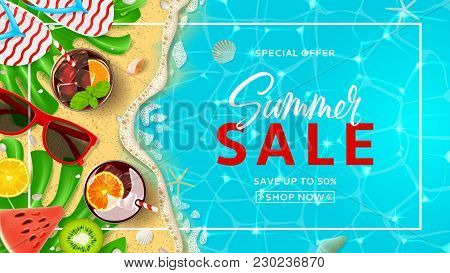 Promo Web Banner Template For Summer Sale. Top View On Summer Decoration With Realistic Objects On B