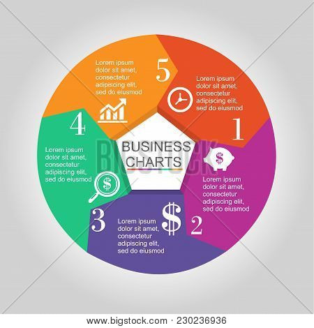 Vector Circle Arrows Infographic, Cycle Diagram, Graph, Presentation Chart. Business Concept With 5